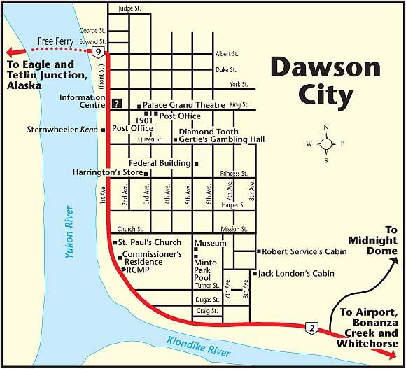 Map Of Dawson Canada Dawson City   The MILEPOST