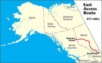 Map Calgary Canada To Great Falls, Mt East Access Route   The MILEPOST