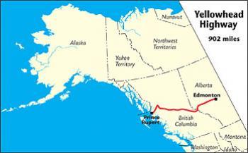 Map Of Yellowhead Highway Canada Yellowhead Highway   The MILEPOST