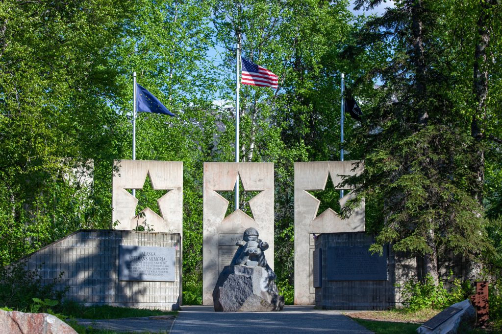 20-foot tall concrete panels of the Alaska Veterans Memorial