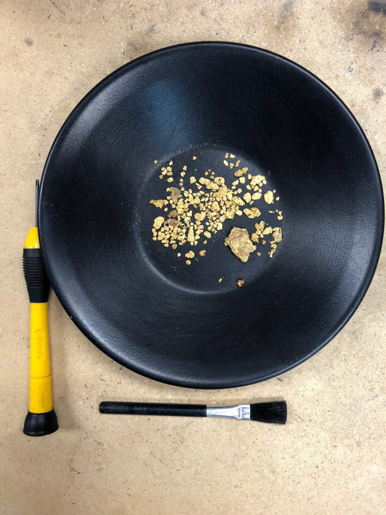 gold pan with gold nuggets