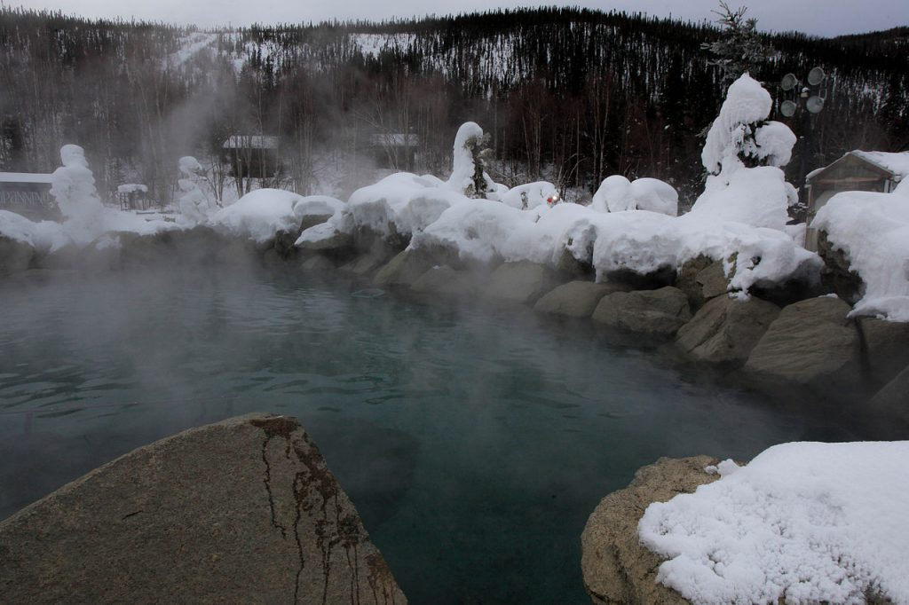 Chena hot springs outdoor pool with snow