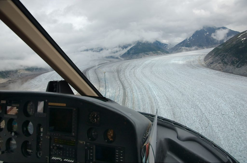 glacier from helicopter cockpit