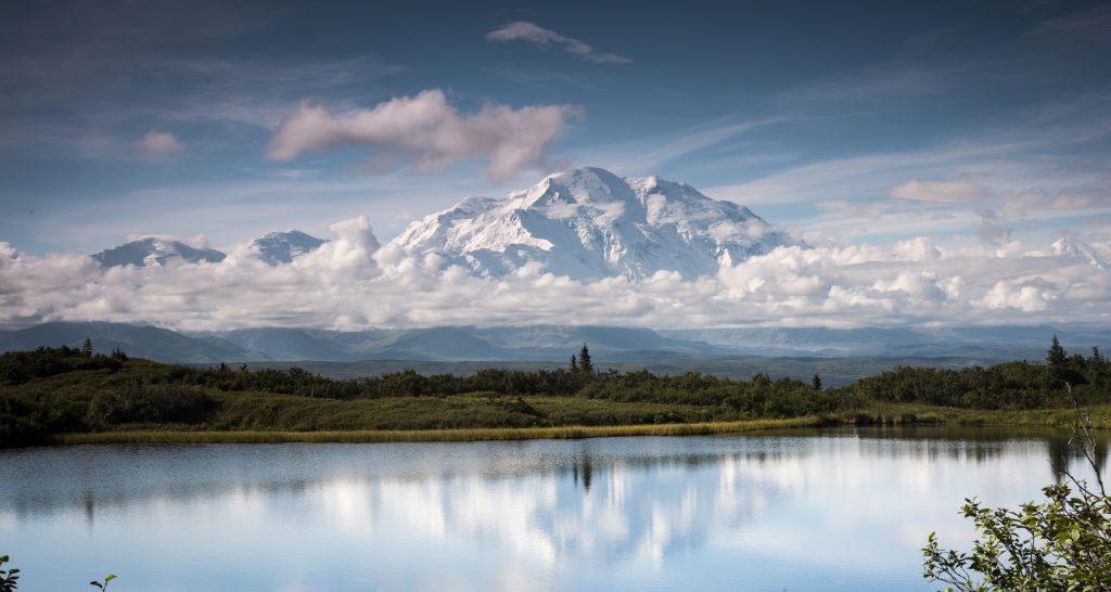 Denali reflects in Wonder Lake