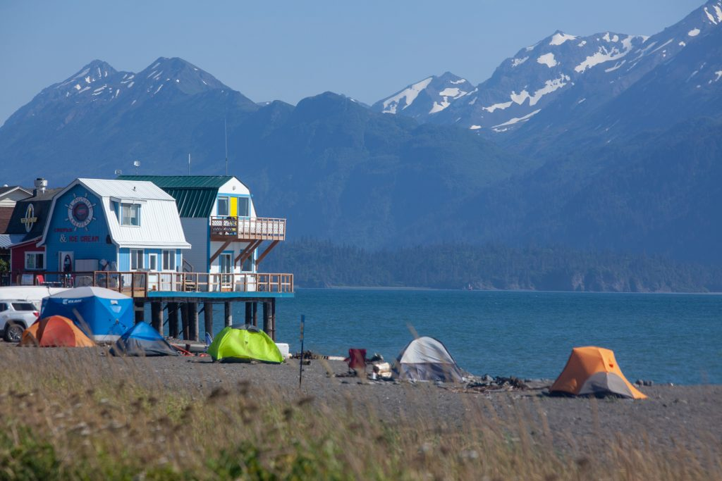 Tents on the beach along the Homer Spit