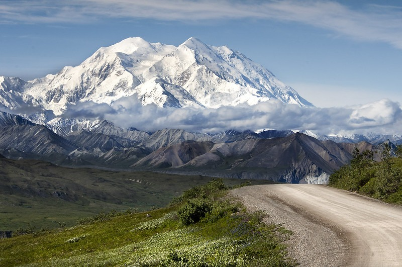 Gravel road and Mount Denali