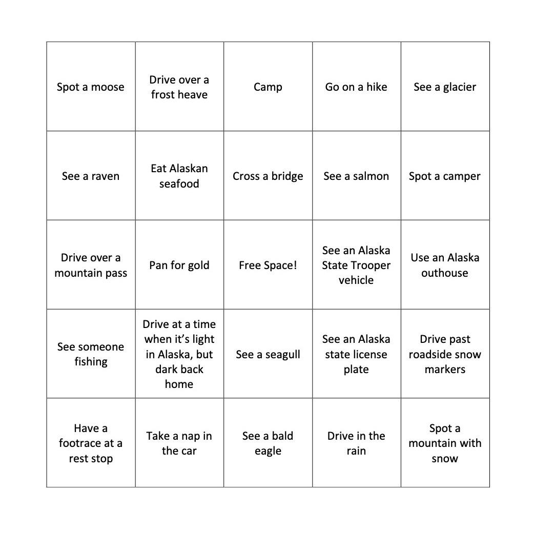 Fun Alaska road trip bingo
