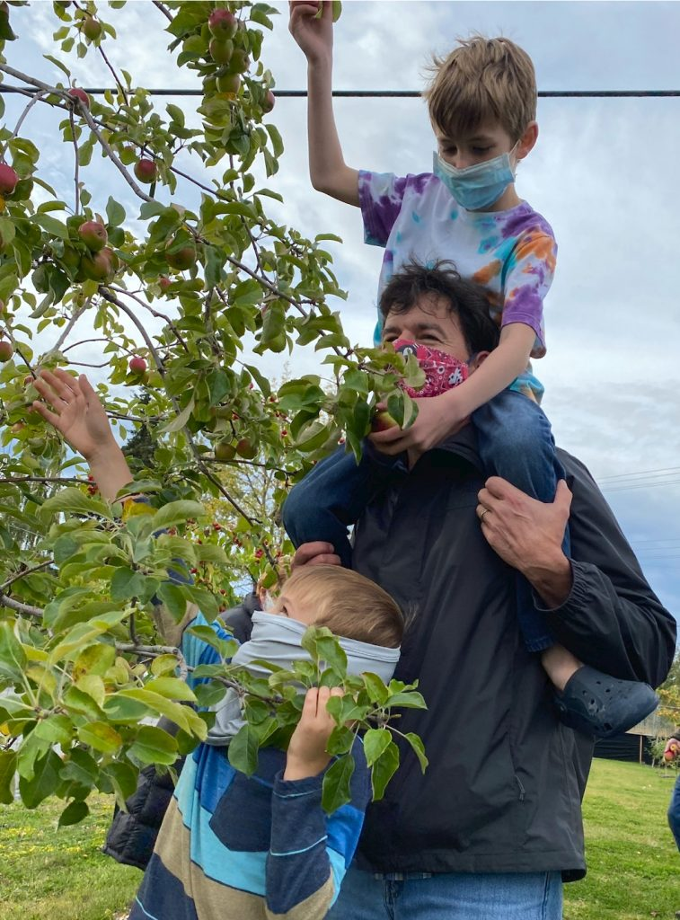 father and two young kids picking apples from a tree